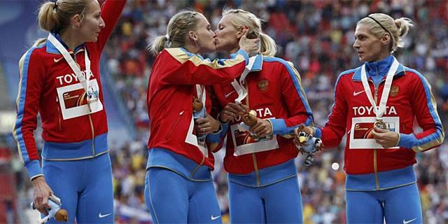 beso atletas rusas